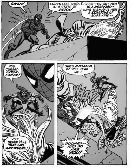 Spiderman kills gwen stacey, green goblin kills gwen stacy