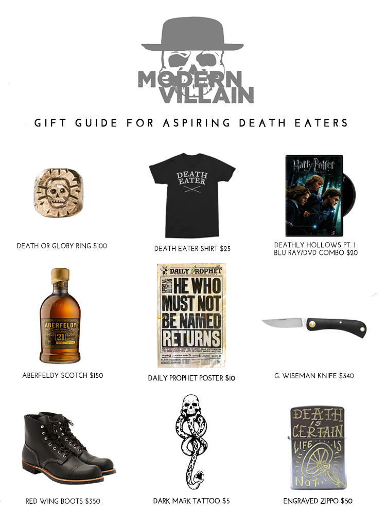 Gift Guide for Death Eaters and Fans of Voldemort in preparation for Harry Potter & The Cursed Child