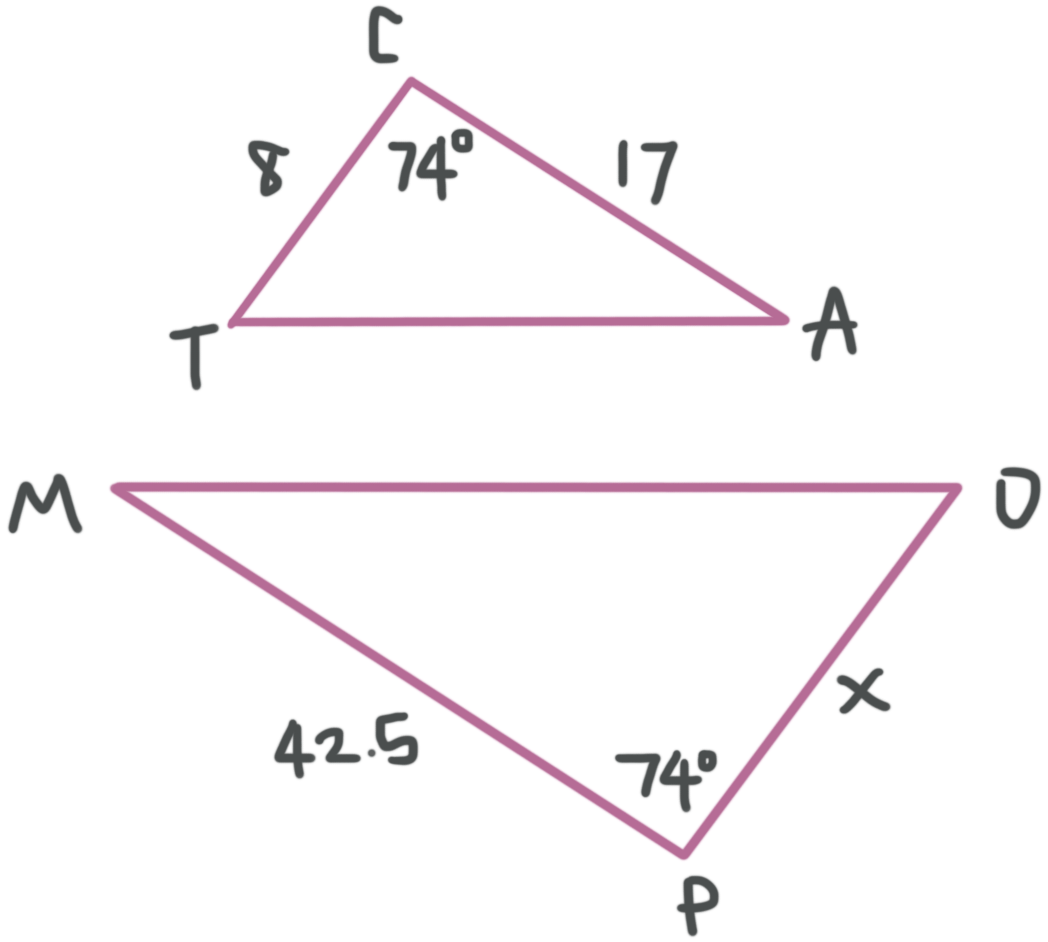 solving for the variable when two triangles are similar