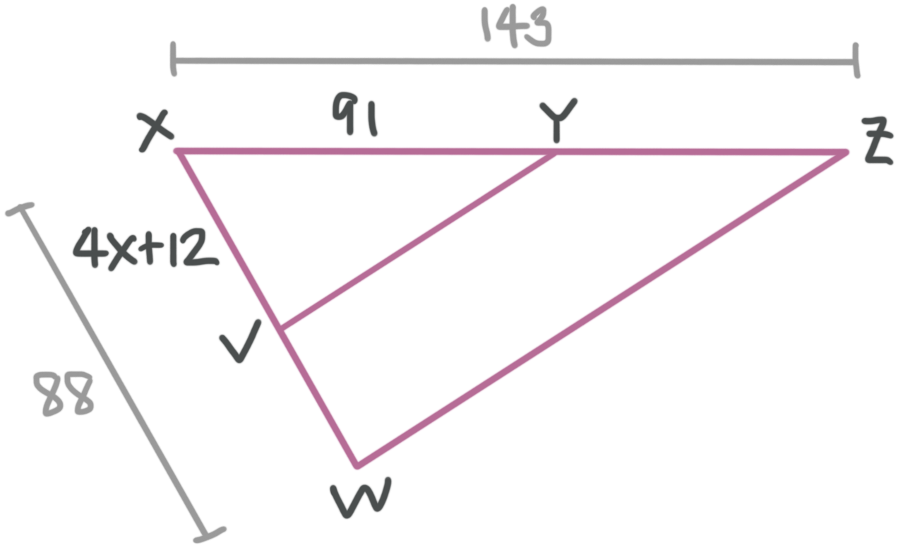 solve for the variable in similar triangles