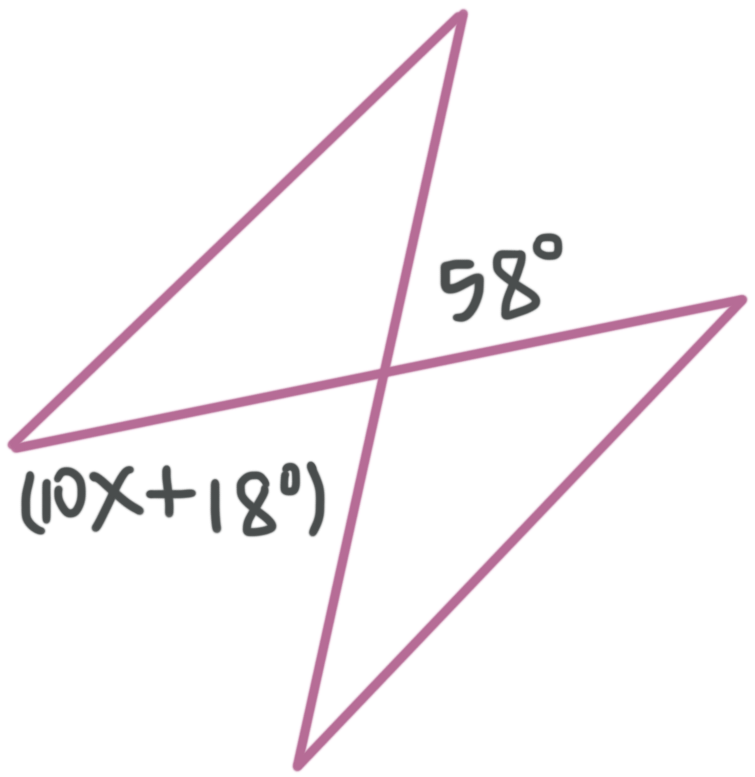 Finding the value of an unknown in vertical angles