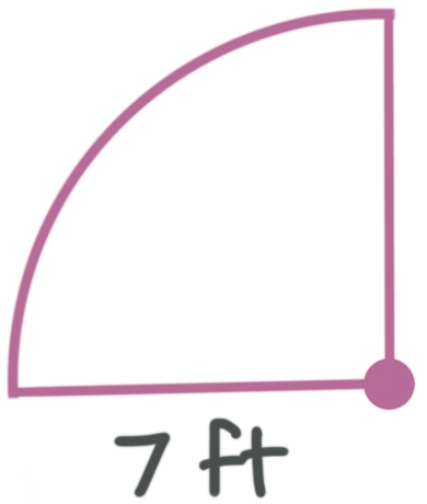 the quarter circle with a given radius
