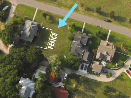 "If you're installing a fence that doesn't enclose the entire yard (as above), don't ask for the entire yard to be located. Instead, narrow like this, ""locate north property line from front to back of house and perpendicular to the house."""
