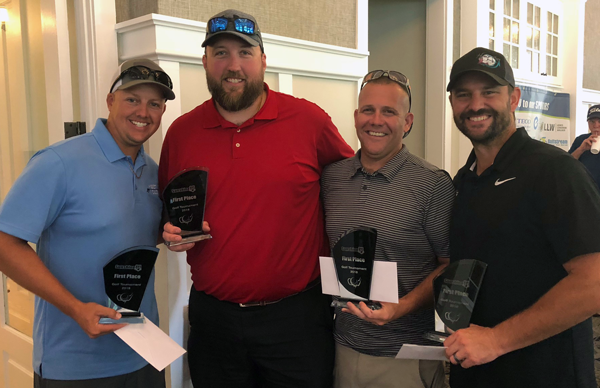 First place goes to the team of Sanford Firefighters Spencer Green, Johnathon Kraft, Matt Morelli and Dominic Petracca. They certainly don't need saving on the golf course!