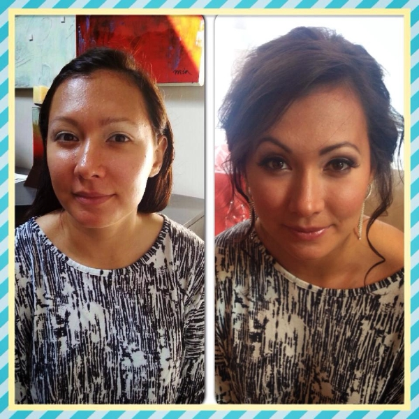 Bridal before and After makeup and hair