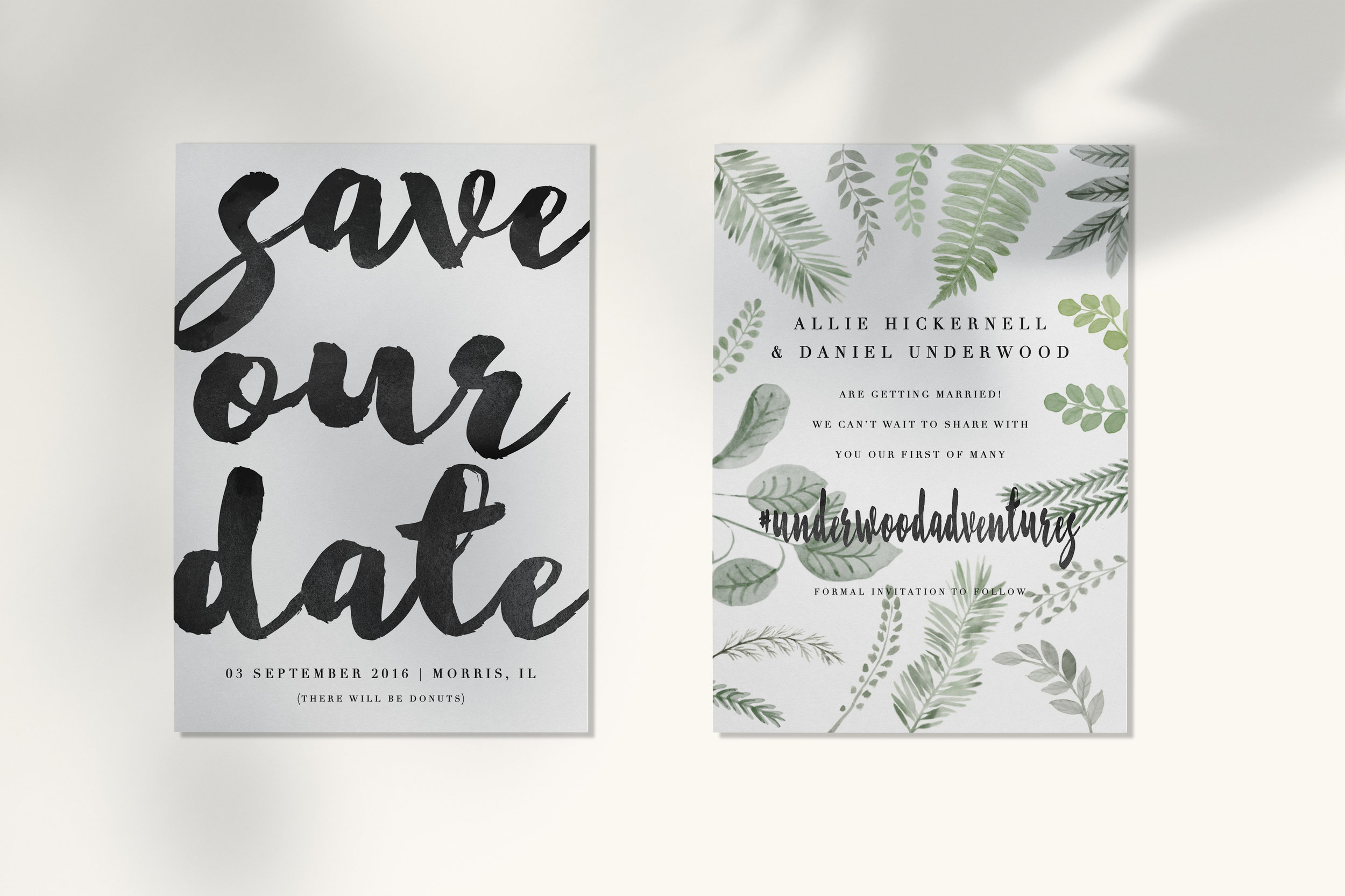 Greenery save the date wedding card.