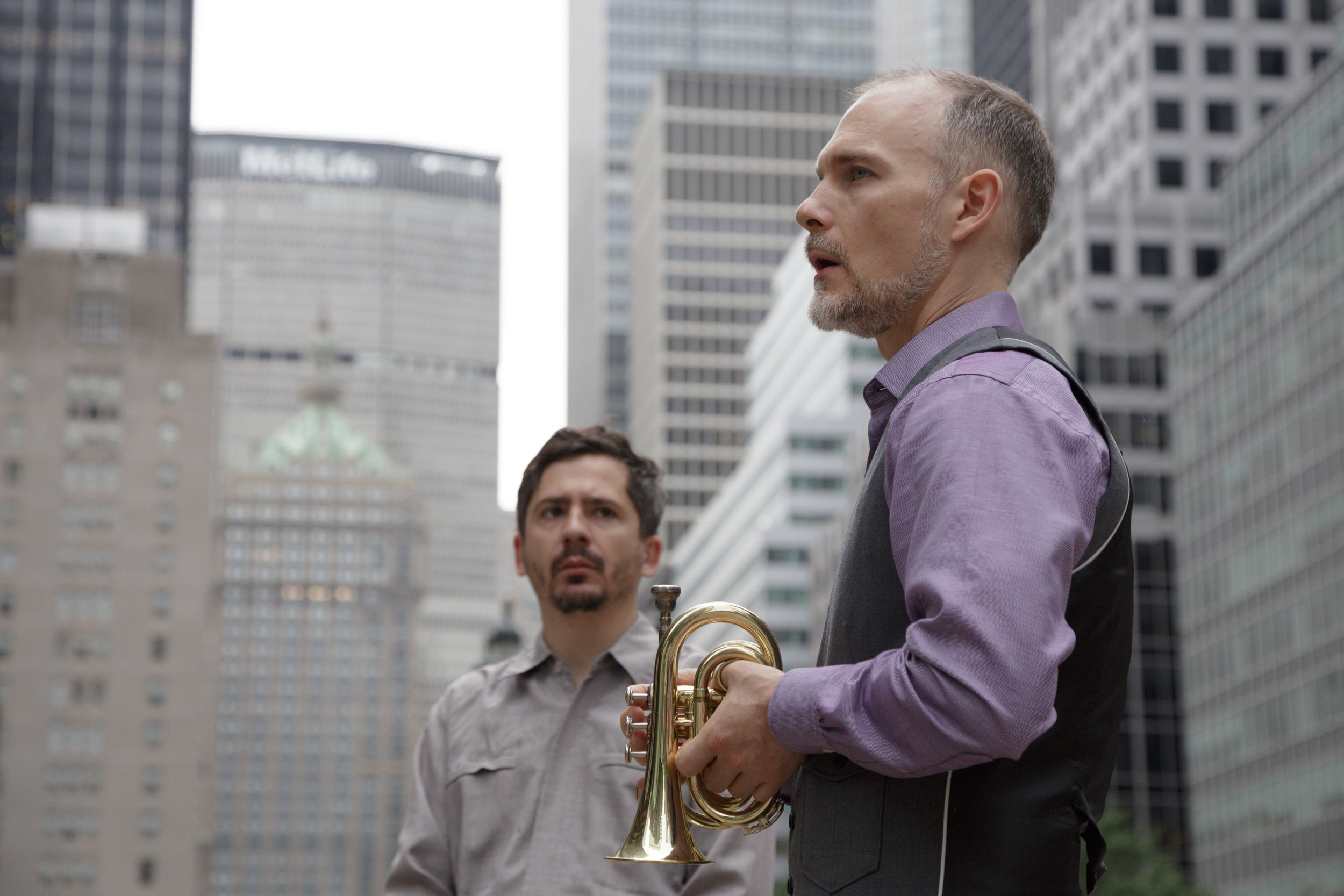 Craig Shepard (R) with Eric Biondo rehearsing on Park Avenue in New York. Photo by Beth O'Brien.