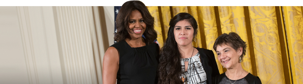 Michelle Obama with Jenny and Marilyn Halperin from CPS Shakespeare!