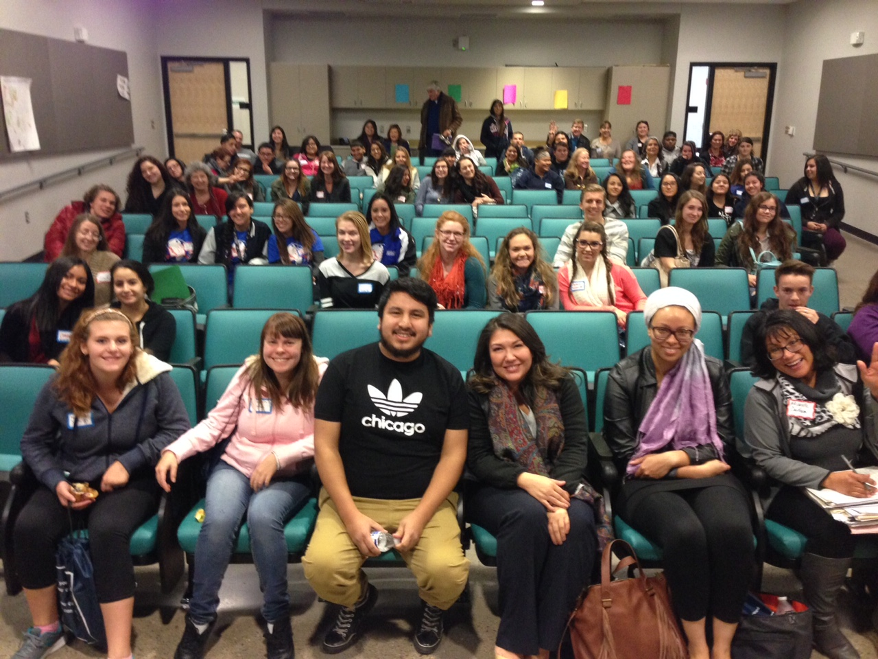 STUDENTS AFTER THE SCREENING POSE WITH ROQUE (FRONT CENTER) FROM THE FILM
