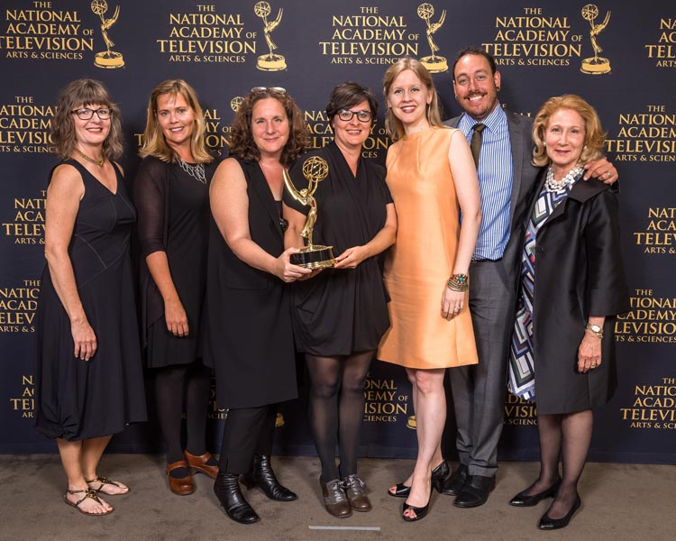 From left to right: Leslie Simmer (editor), Katie Taber (Co-Producer), Anne de Mare & Kirsten Kelly (Directors/Producers), Justine Nagan (Executive Producer), Andrew Schwertfeger (Executive Producer), and Elizabeth Hemmerdinger (Associate Producer)