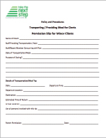 Permission Slip for Minor - Transportation and/or Meals  Click on image to download