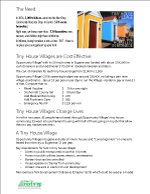 One Page on the need, why tiny house villages are cost effective, how lives are changed, requirements, and resources.