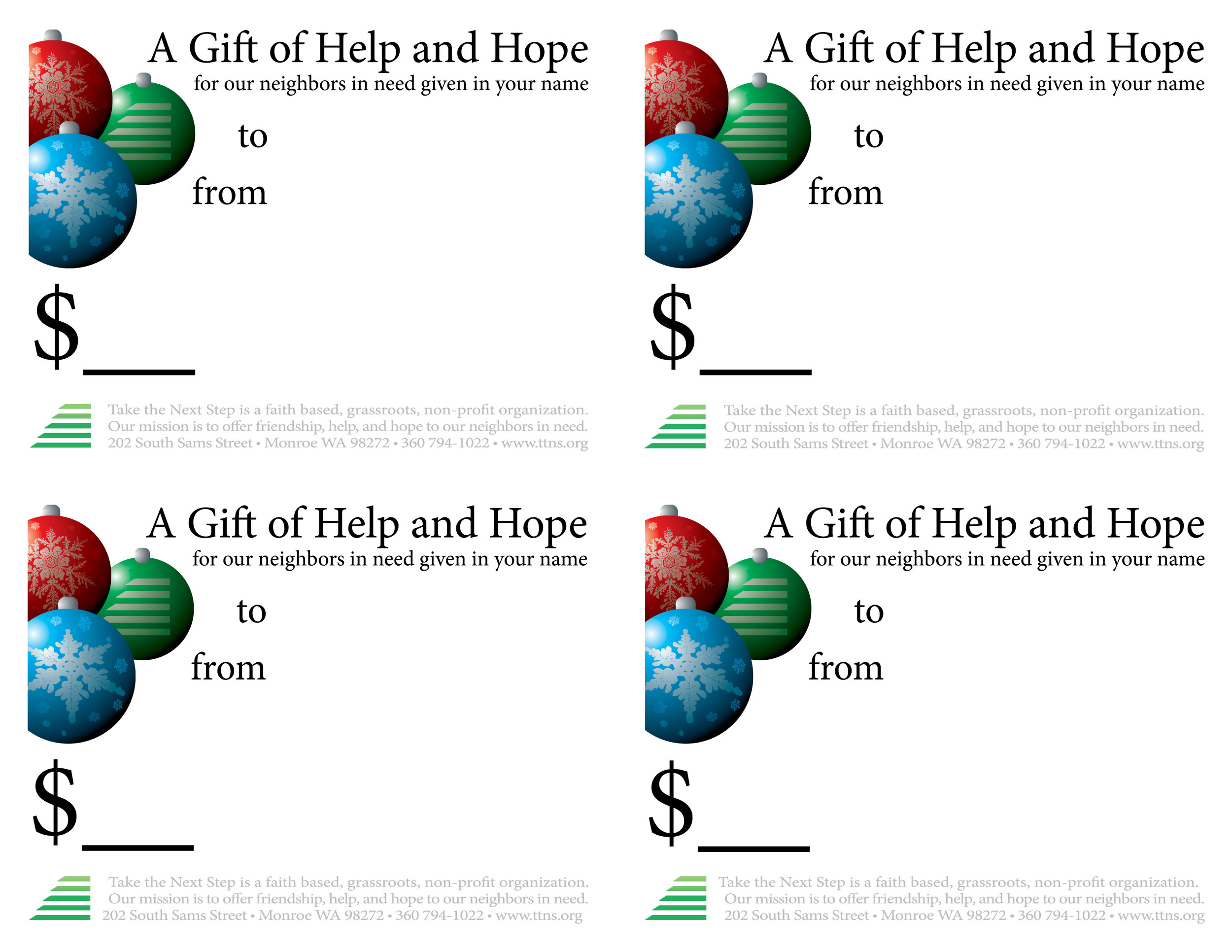 Click to download and print gift cards (two sided)