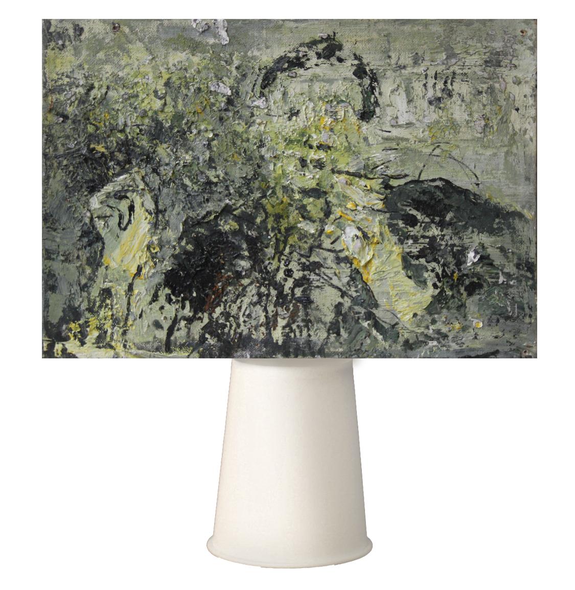 創作論述:馬總統的話如同一只免洗杯,用完即可丟棄。  創作媒材:油彩、畫布、免洗杯 尺寸:38cm * 26cm