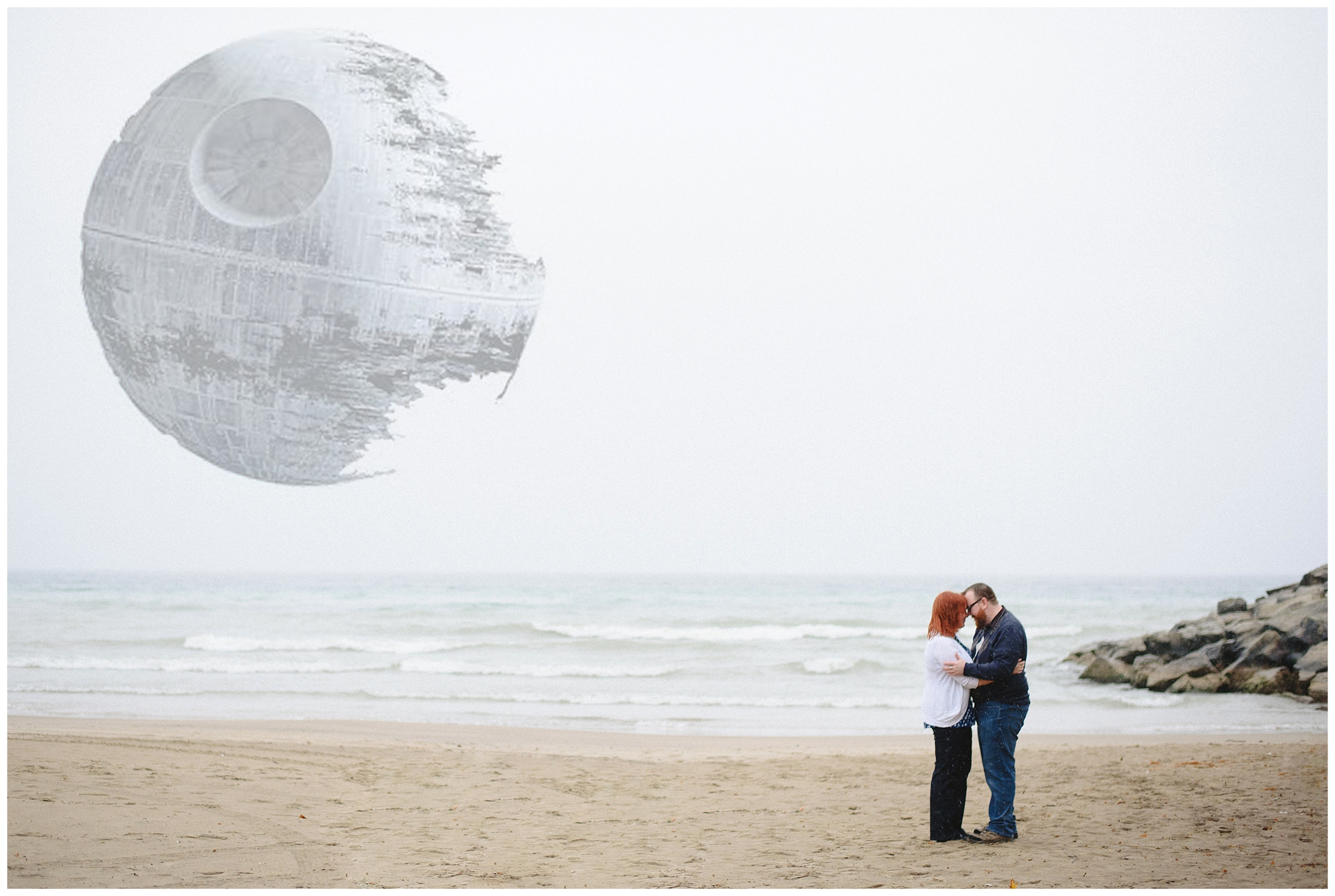 Arynn Photography, Scarborough Bluffs engagement shoot, Toronto Weddding Photographer, Durham Wedding Photographer, Geeky Engagement, Star wars, Death Star, Beach engagement