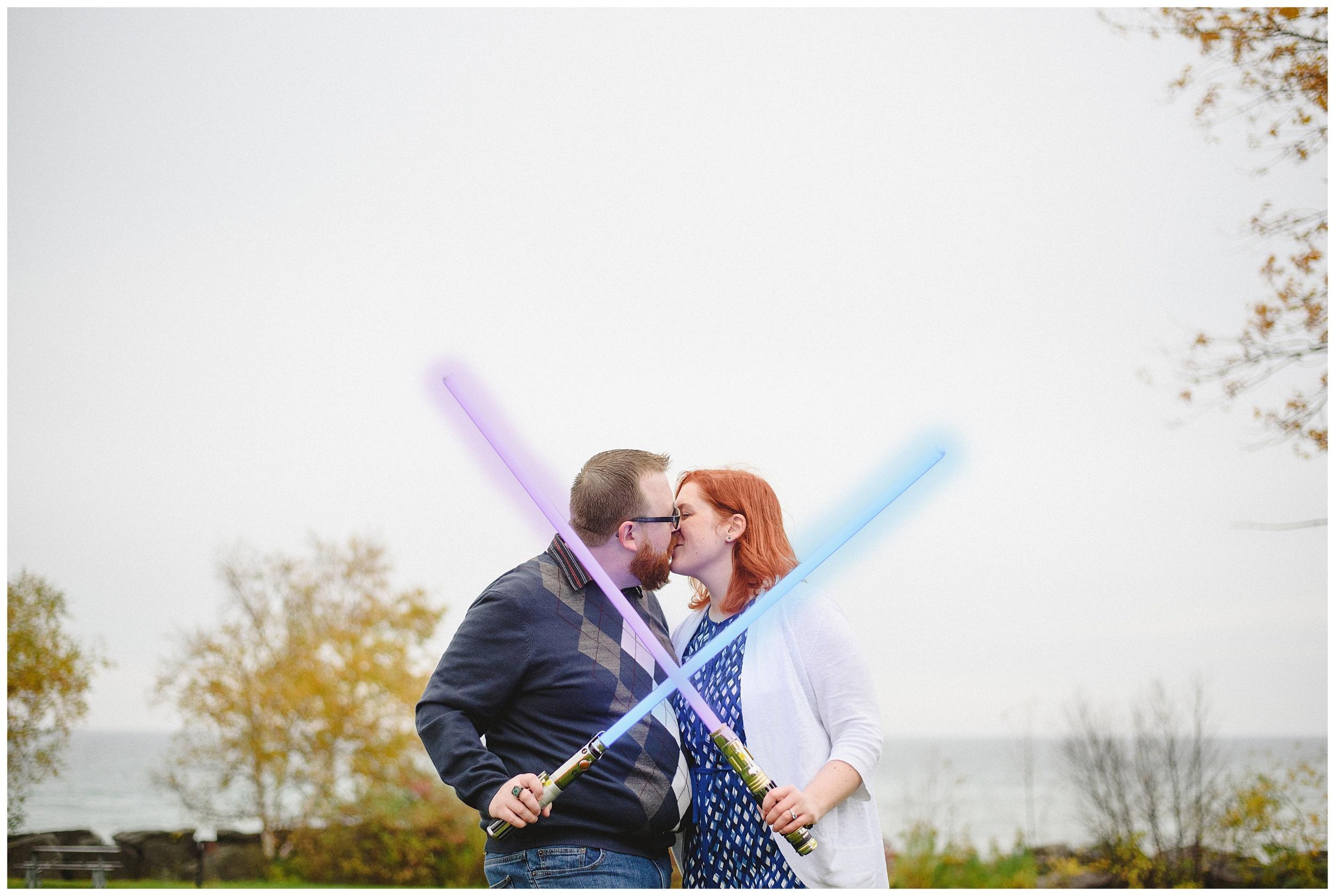 Arynn Photography, Scarborough Bluffs engagement shoot, Toronto Weddding Photographer, Durham Wedding Photographer, Geeky Engagement, lightsaber engagement