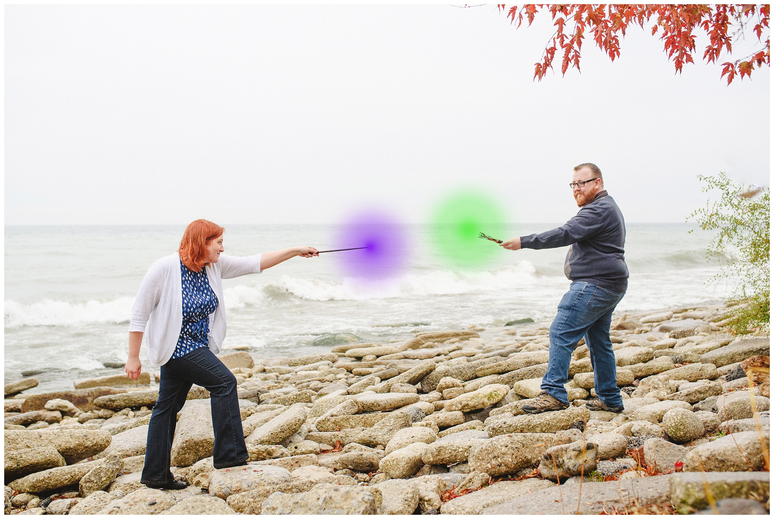 Arynn Photography, Scarborough Bluffs engagement shoot, Toronto Weddding Photographer, Durham Wedding Photographer, Geeky Engagement, Harry Potter engagement, Harry Potter Wands, Wand duel