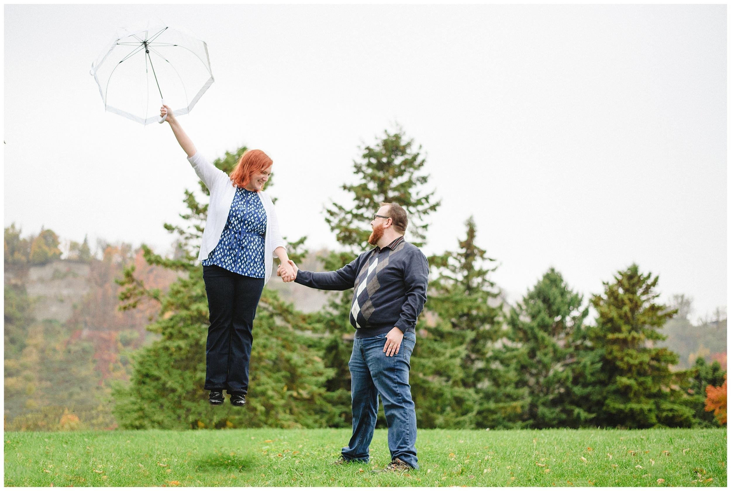 Arynn Photography, Scarborough Bluffs engagement shoot, Toronto Weddding Photographer, Durham Wedding Photographer, Geeky Engagement, umbrella, Mary Poppins Engagement