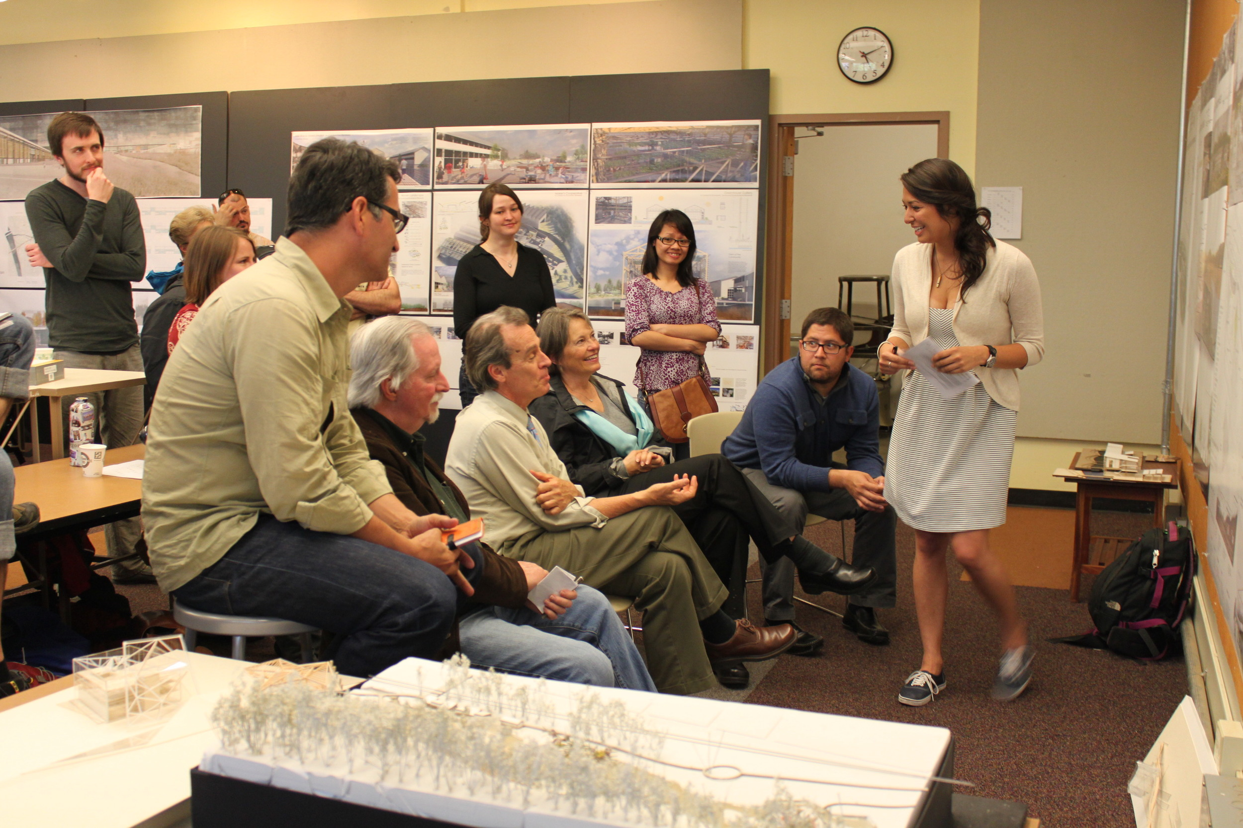 Professors from the School of Business and Structural Engineering, Springfield School District leadership, local AIA chapter chair, and community members joined in the final review.