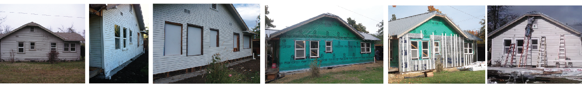 The east facade over the years showing original condition (far left), moisture barrier (center), additional rigid insulation, and new cedar siding (far right).