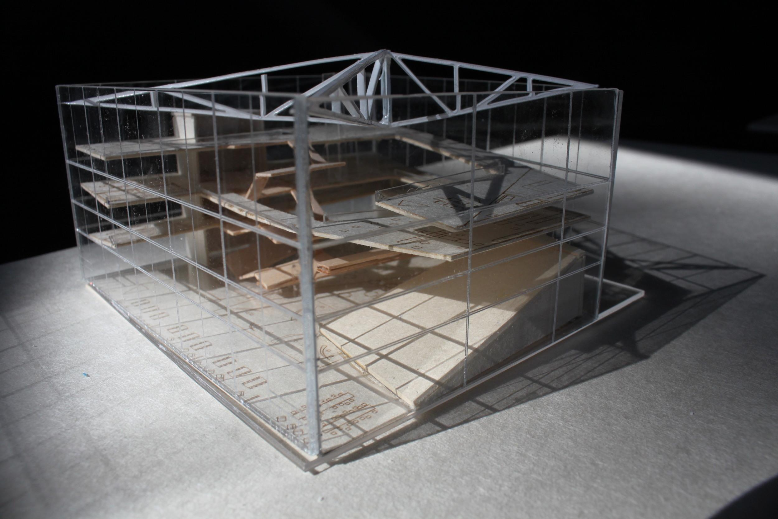Lasercut acrylic, mat board floor plate model