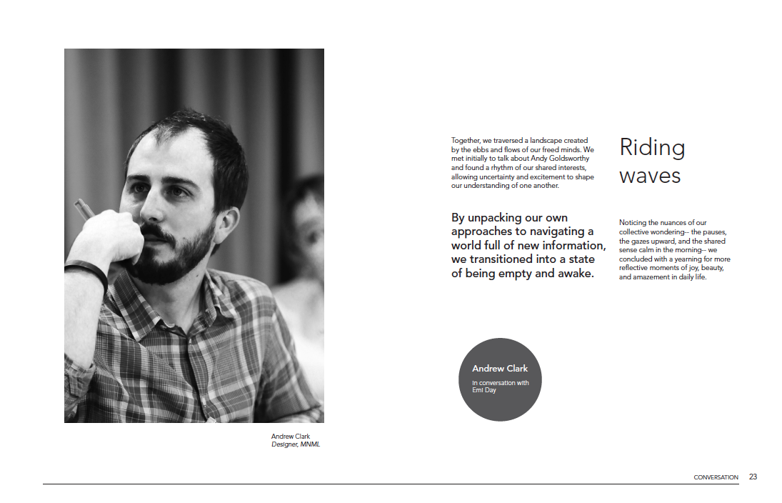 An invitation into an illustrated conversation with Andrew Clark, Designer at  MNML  (Adobe InDesign)
