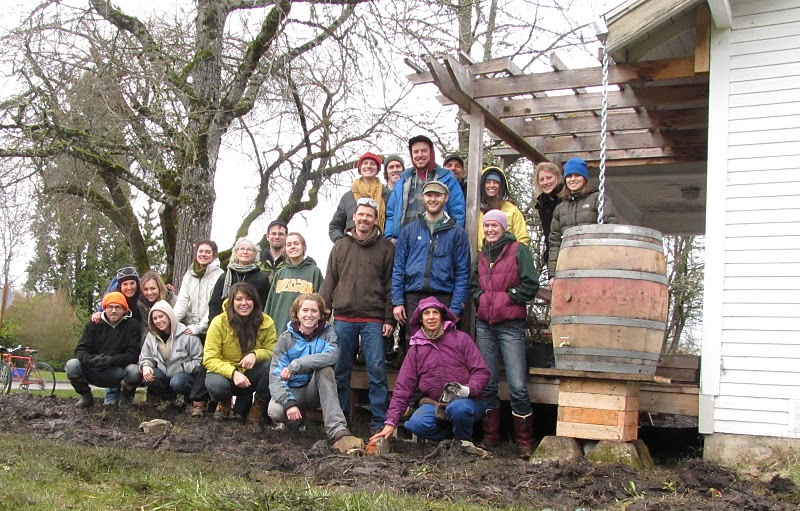 Our permaculture class built the rainwater catchment system and rain garden