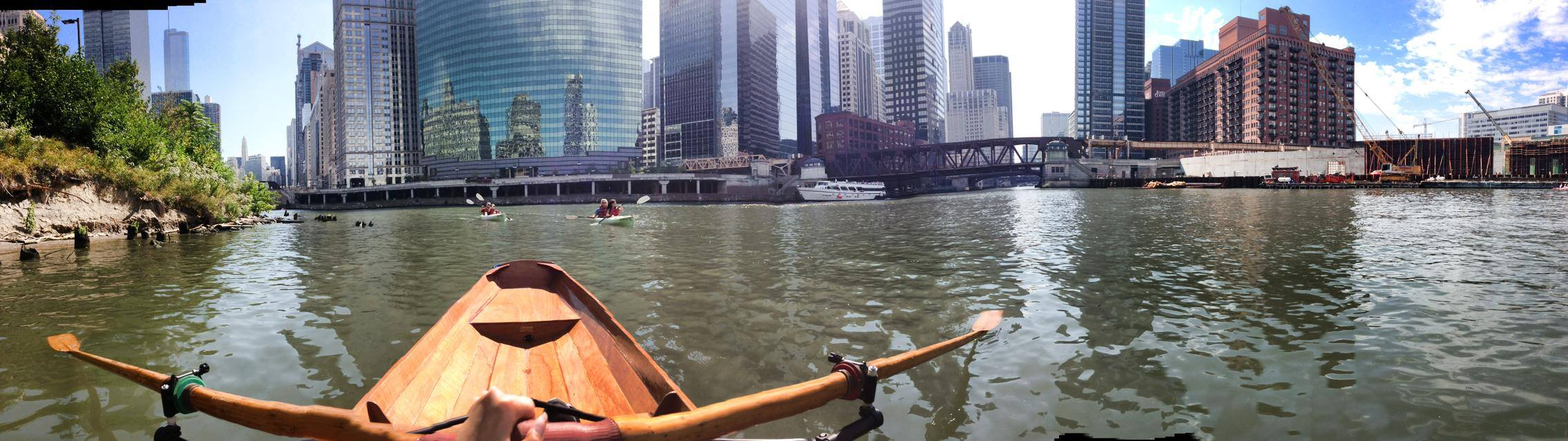 Rowing in the wherry my grandpa built on the Chicago river