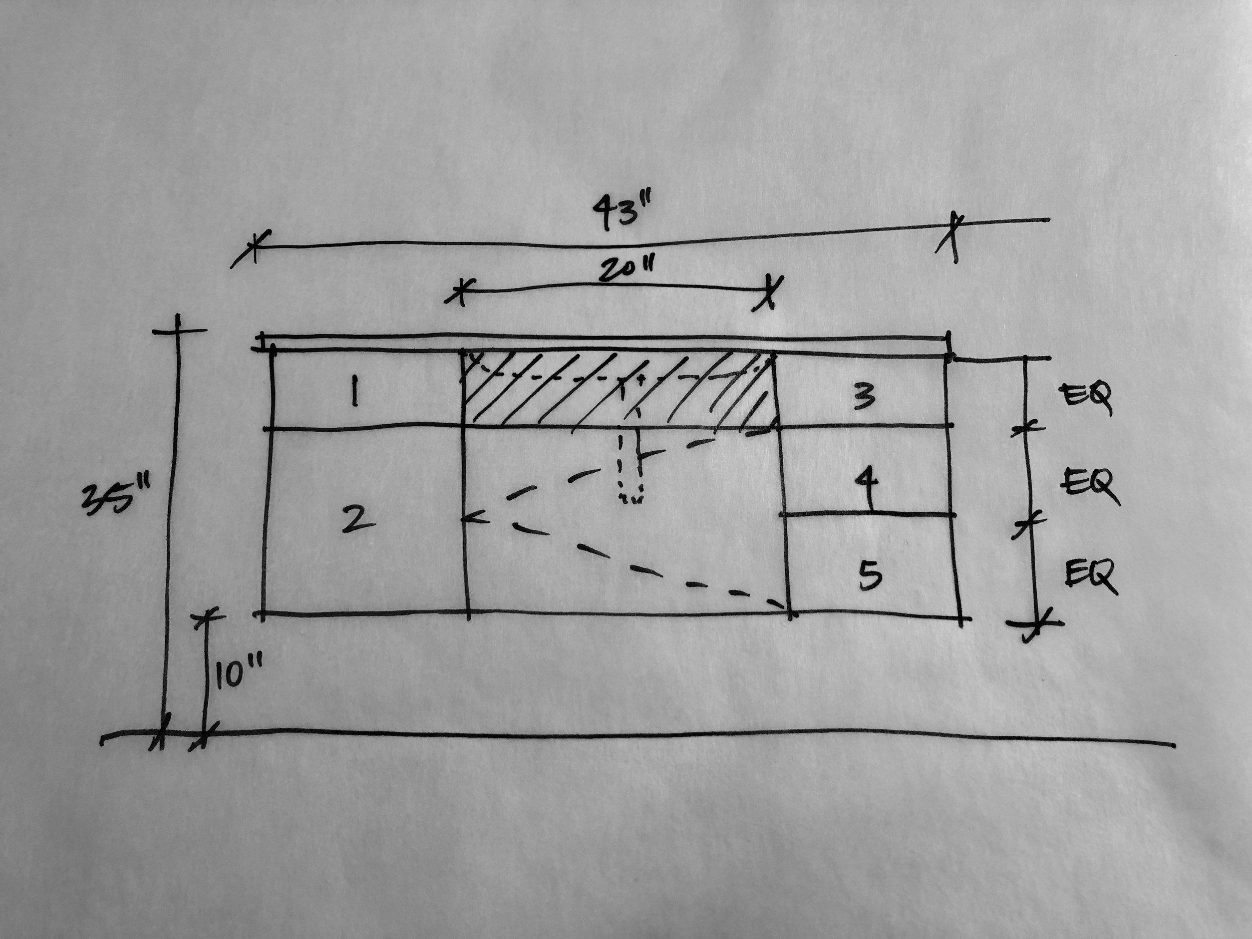 Vanity sketch sent to custom fabricator