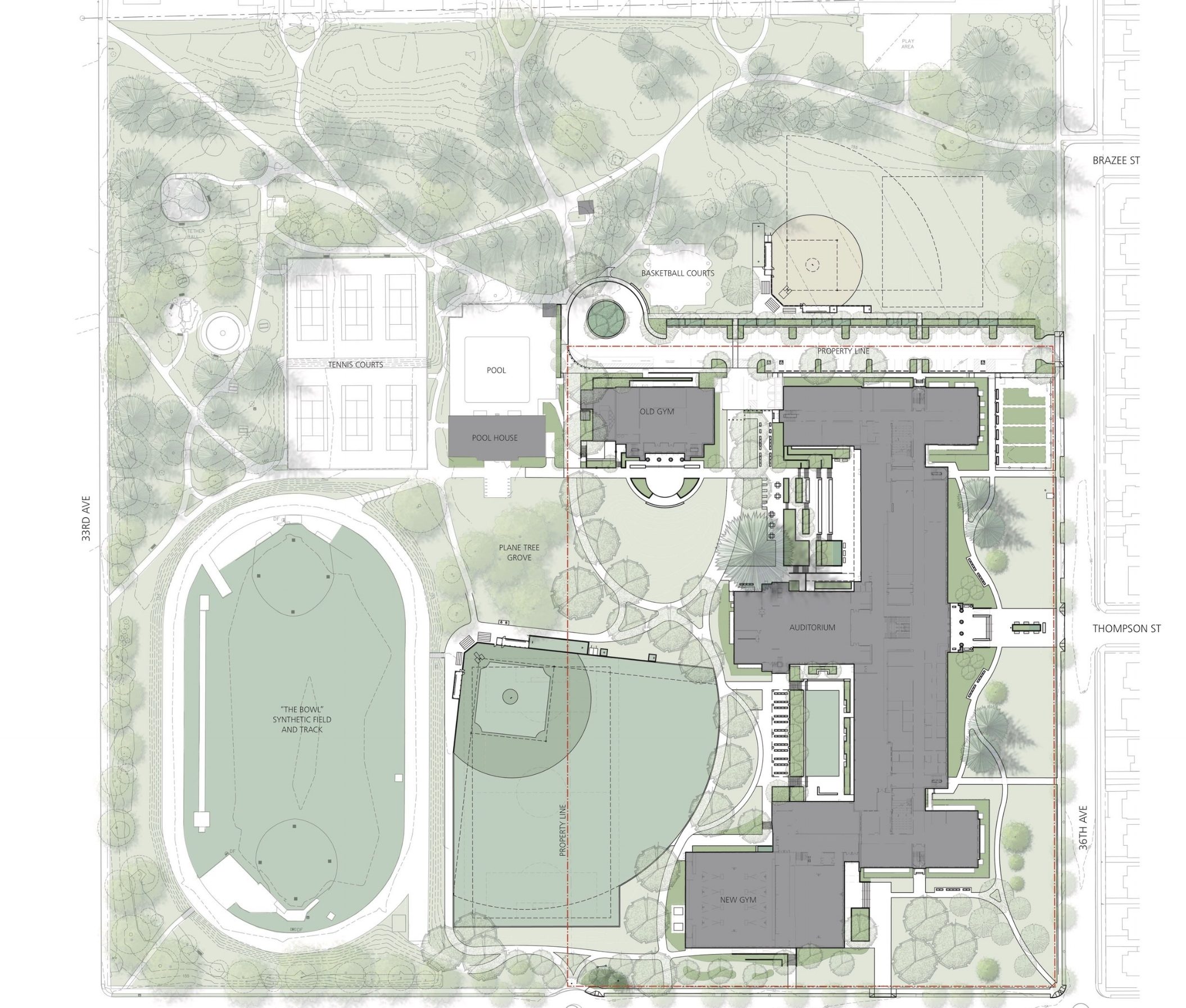 The new site plan was developed in collaboration with our landscape architect,  Mayer/Reed , via Mahlum.