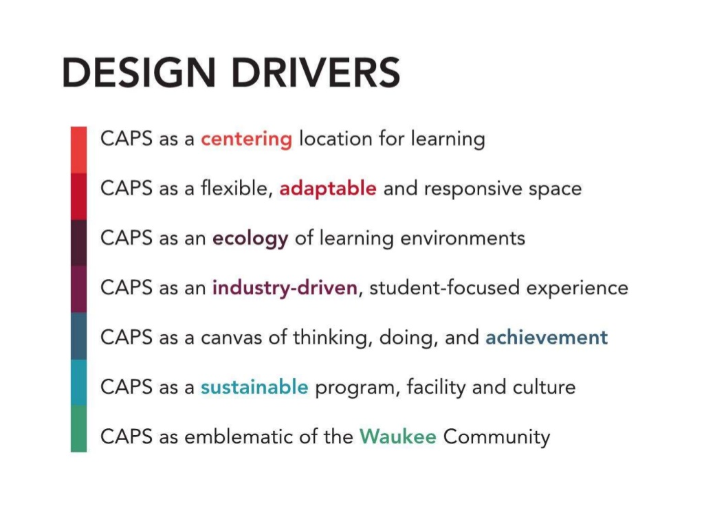 Design Drivers are guidelines for the development of spaces. The project was formerly known as Waukee CAPS, which is now Waukee APEX.