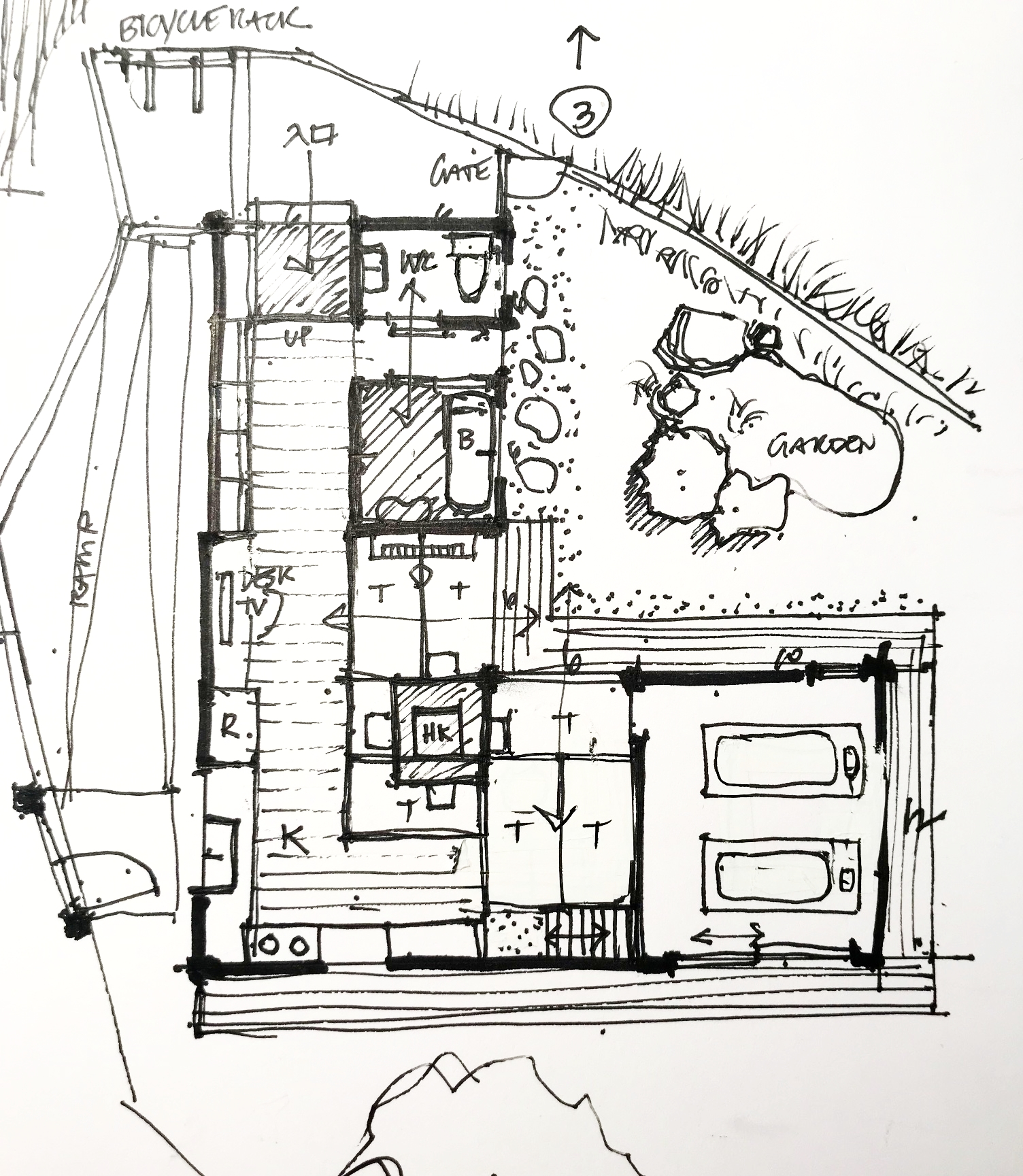 T= tatami HK = horikotatsu (sunken table heater) WC= water closet B = bath R = refrigerator K= kitchen