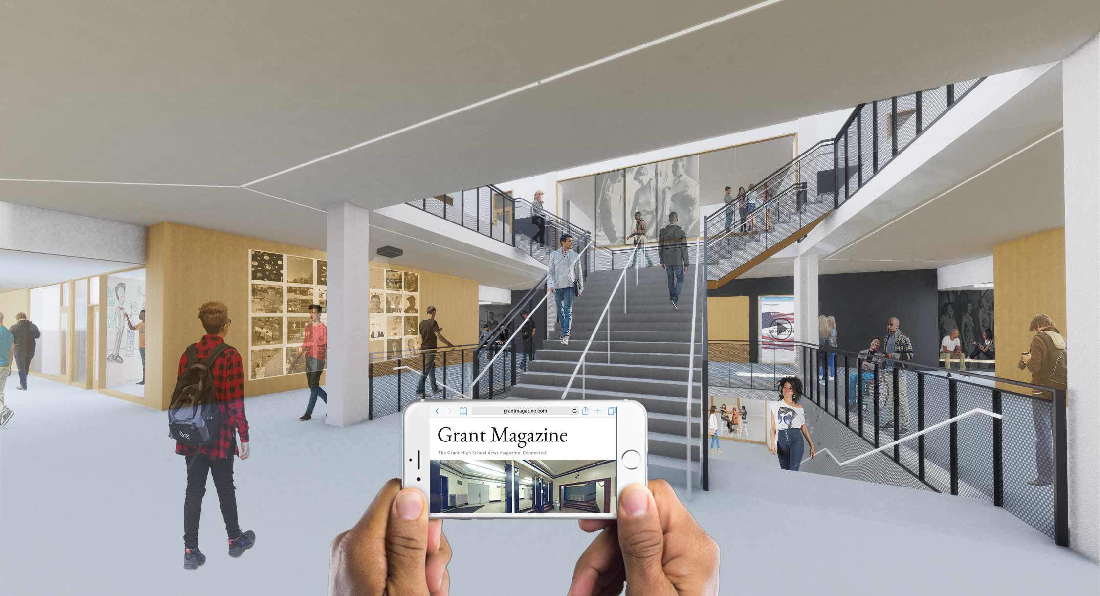 A modern school proposal showing an integrated digital experience with augmented reality capacity, interactive displays, rear projected glass, and a unique school app.