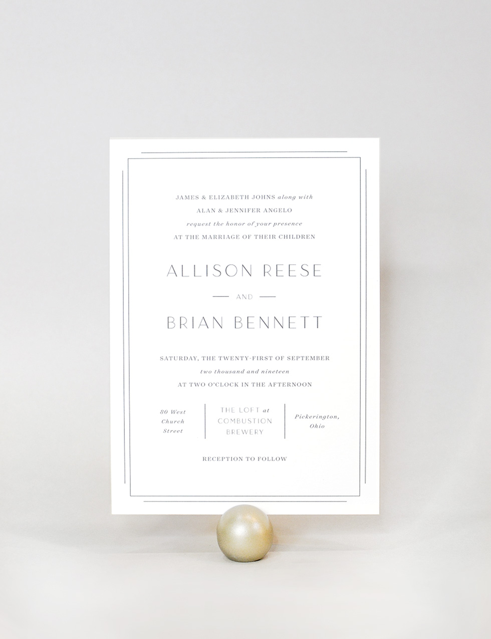 Blackbird - Blackbird is a modern suite with a touch of Deco. A classic border is timeless and a bit more formal. For the couples who are searching for an alternative to a calligraphic / script invitation.