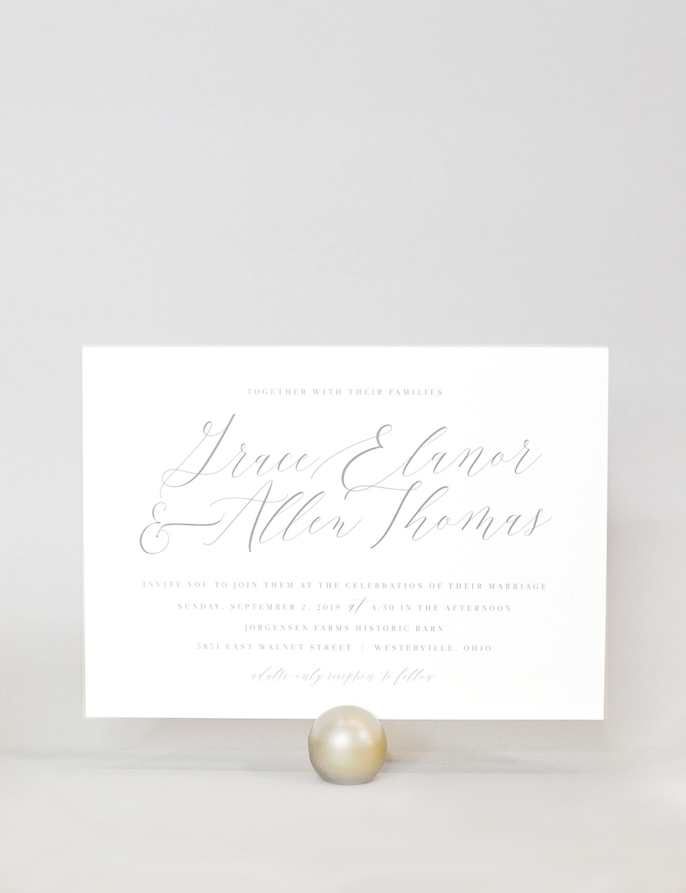 Dove - A perfectly simple, elegant suite. Beautiful calligraphy sets the tone for Dove. It's paired with a classic serif typeface that will let your guests know it's a classy affair.