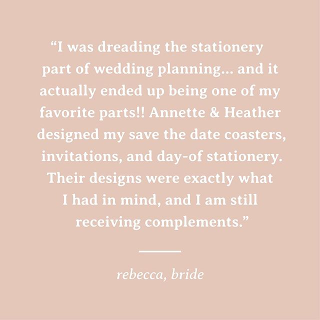 Grateful for our couples 🙏 We see this theme a lot... people aren't necessarily excited about the process of wedding stationery. We're here to flip that and make it something our couples really enjoy and have fun with throughout the process. ⠀⠀⠀⠀⠀⠀⠀⠀⠀ #testimonial #weloveourclients #clientlove #quotes #clientquote #theknot #weddingvendor #weddingstationery #invitations #weddinginvitations #ohiobride #ohiowedding #engaged #engaged2019 #shesaidyes #cbusweddings #columbusweddings