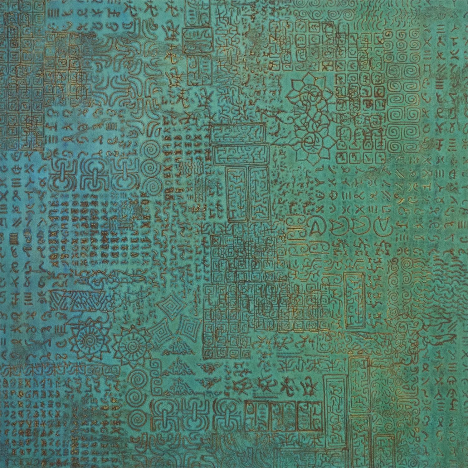 """It Came Out of a Clear Blue Sky 36"""" W x 36"""" H x 2"""" D Acrylic & oil on archival board"""