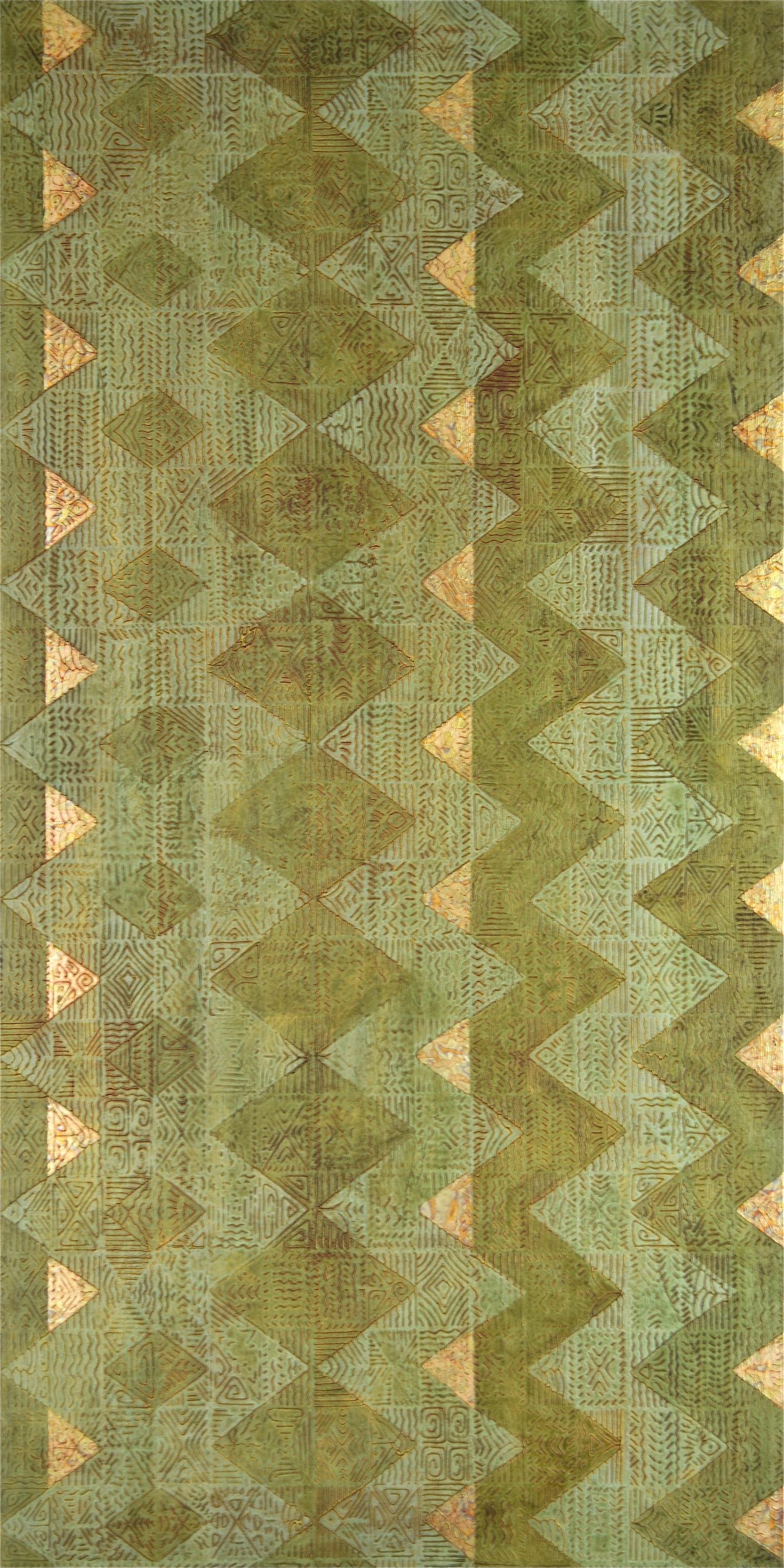 "Moss 30"" W x 60"" H x 2"" D Acrylic, oil & gold leaf on archival board"
