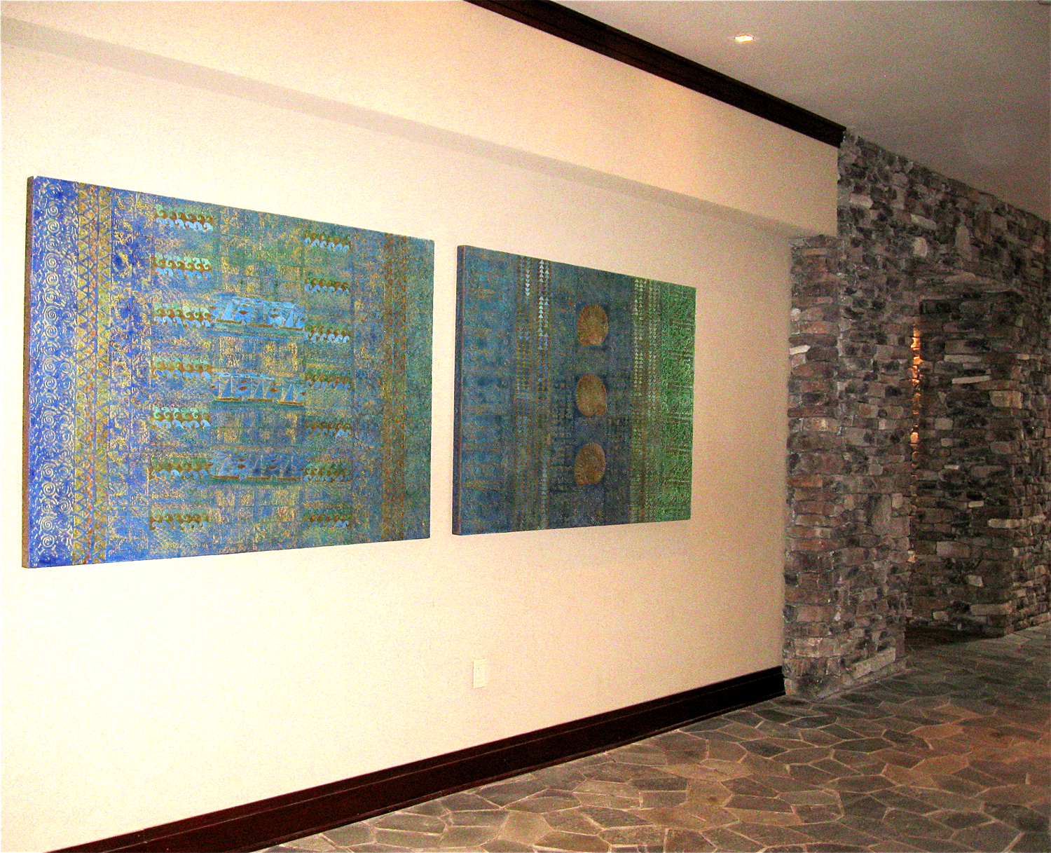 "The Montage Hotel & Resorts - Kapalua Bay Maui - Cane & Canoe Restaurant, North & South Breezeways- 2 of 4 paintings that ""tell a story"""