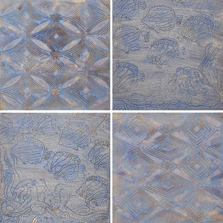 "He'e's Garden 1 - 4 (Hawaiian - Octopus's Garden) @ 12"" x 12"" x 2"" Acrylic & oil on archival board"