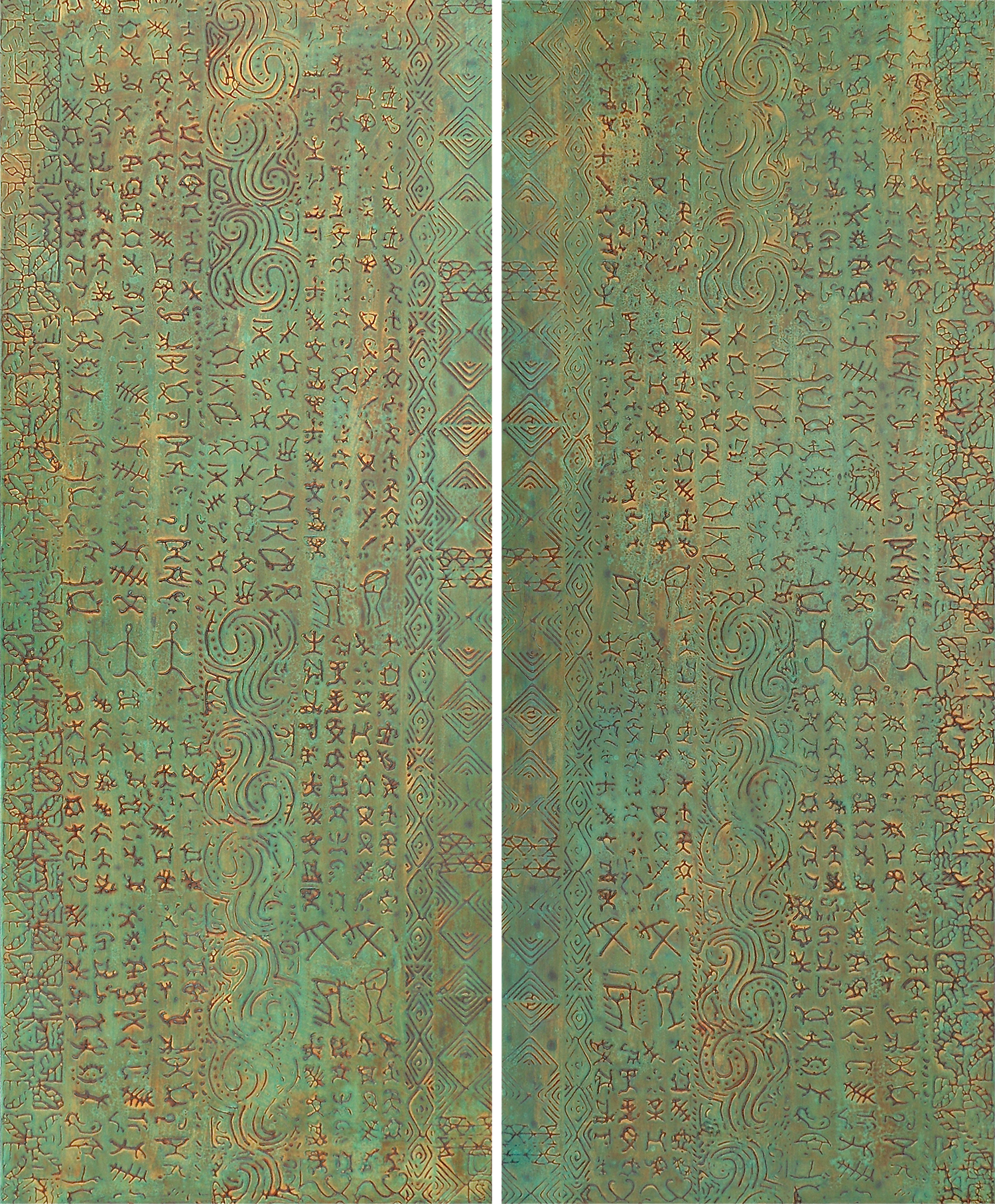 """Doors With a Past 1 & 2 @ 20"""" W x 48"""" H x 2"""" D Acrylic & oil on archival board"""