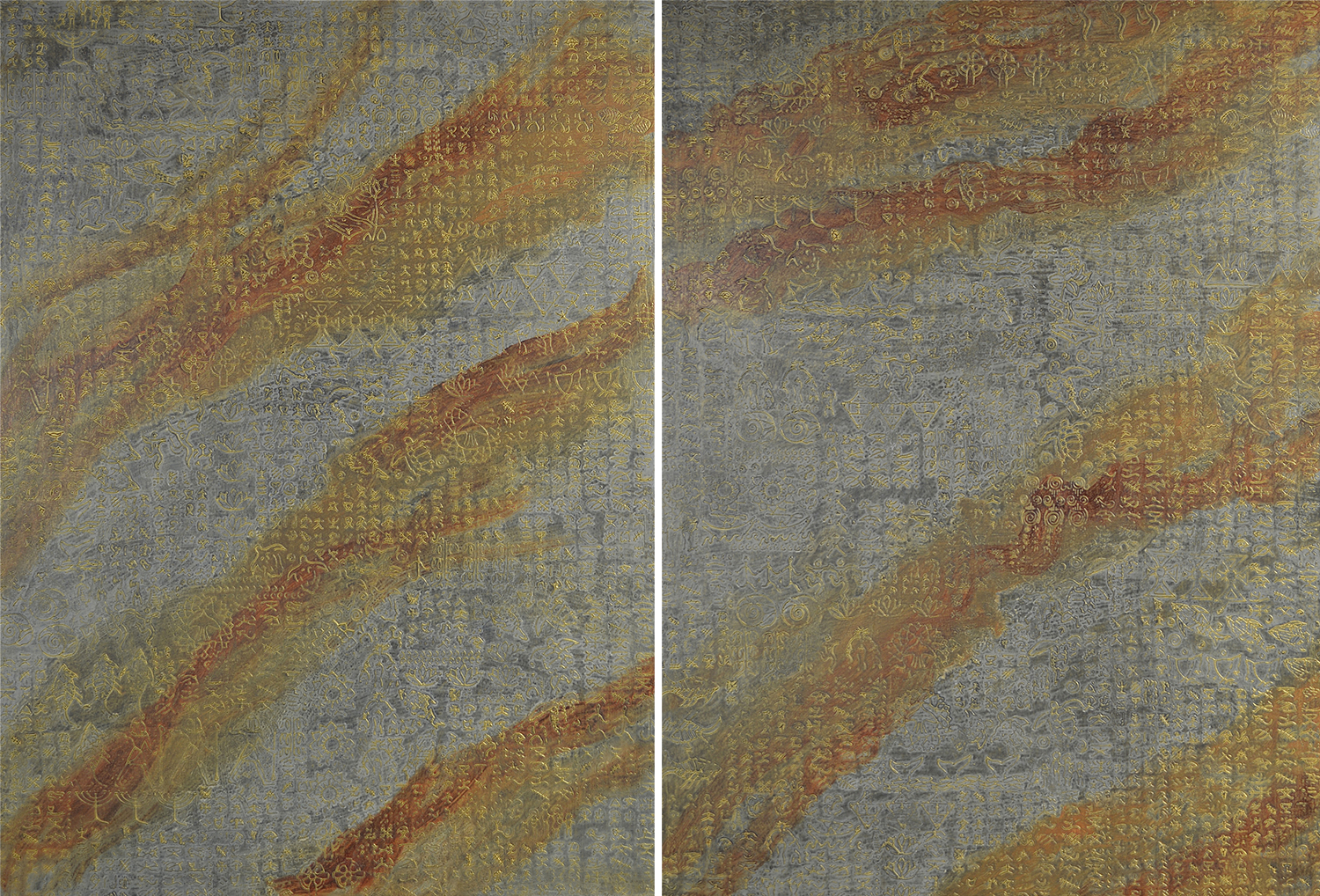 """Mana (Hawaiian - Divine Power) 1 & 2 @ 48"""" W x 65"""" H x 2"""" D  A custom commission, location on the installation images page."""