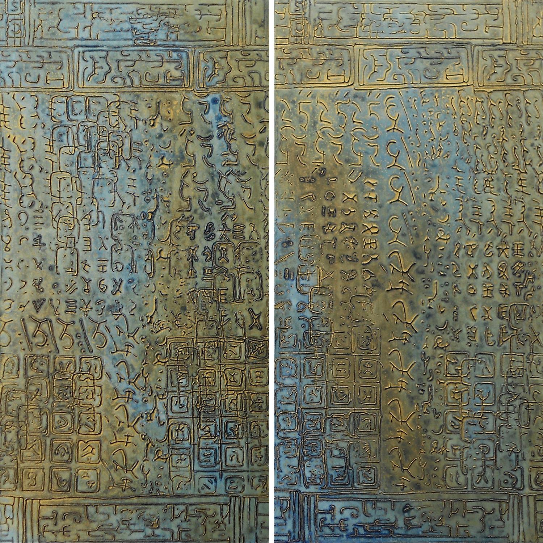 """Moon Water 1 & 2 @ 10"""" W x 20"""" H x 2"""" D Acrylic & oil on archival board"""