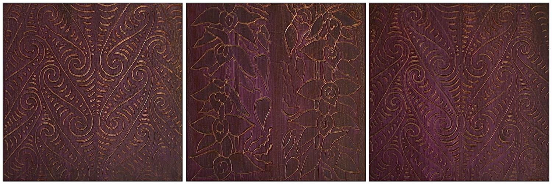 "Purple Pule (Hawaiian - Prayer) 1 - 3 @ 12"" x 12"" x 2"" Acrylic & oil on archival board  # 1 & # 3 are the ancient Maori symbol for water"