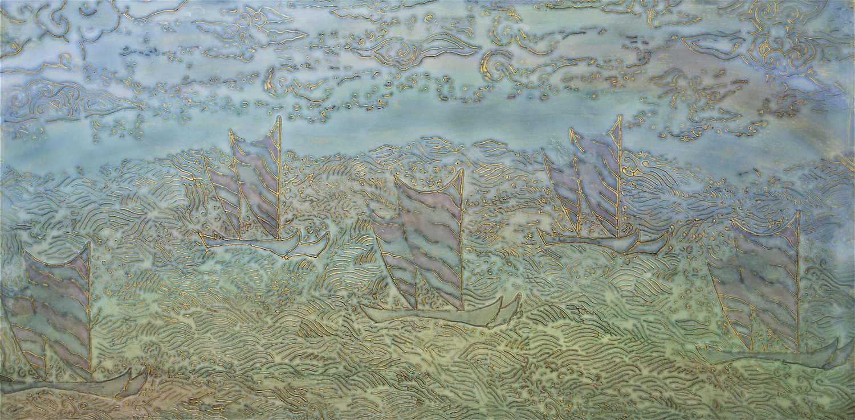 "Ride a Rainbow 40"" W x 20"" H x 2"" D Acrylic & oil on archival board"