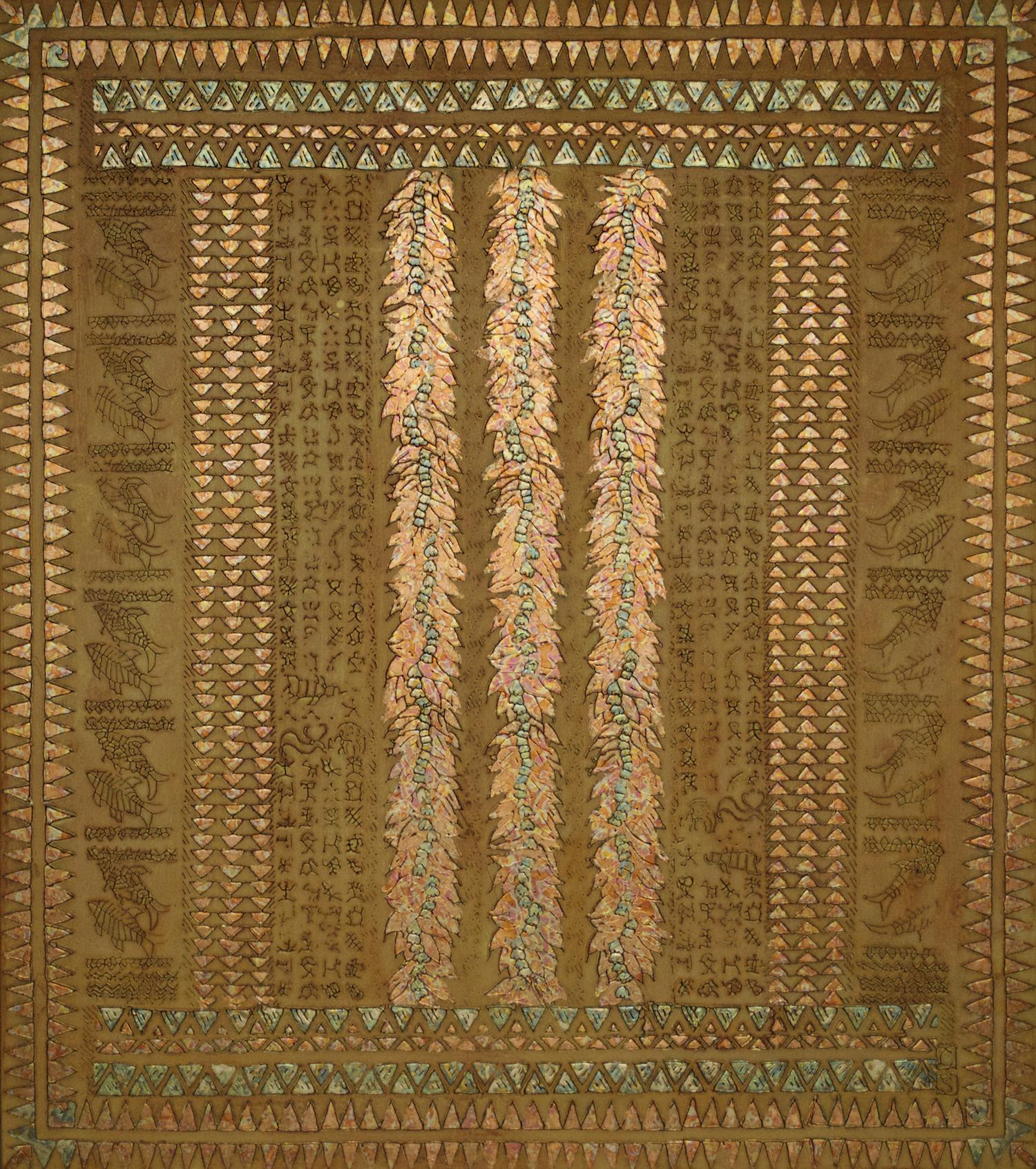"Pua Pule (Hawaiian - FlowerPrayer) 47"" W x 53"" H x 2"" D Acrylic, oil & gold leaf on archival board"