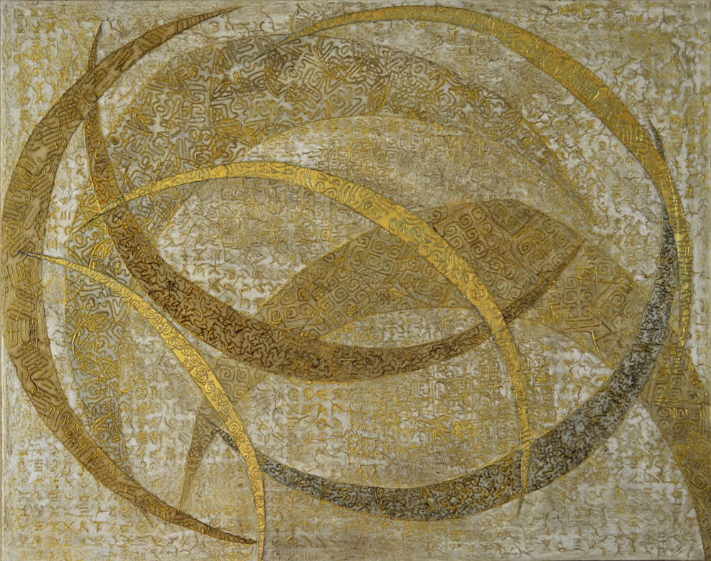 "Crescent Moons in a Driftwood Sky 48"" W x 38"" H x 2"" D Acrylic, oil & 23K gold leaf on archival board"