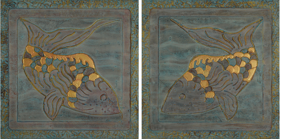 """Couplet 1 & 2 @ 16"""" x 16"""" x 2"""" Acrylic, oil & 23K rose gold on archival board"""