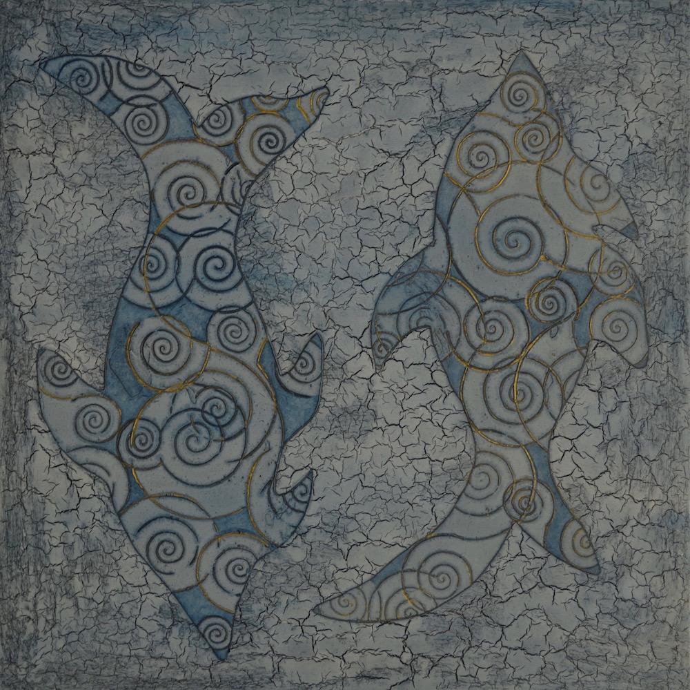 "Blue Fish 24"" x 24"" x 2"" Acrylic & oil on archival board"