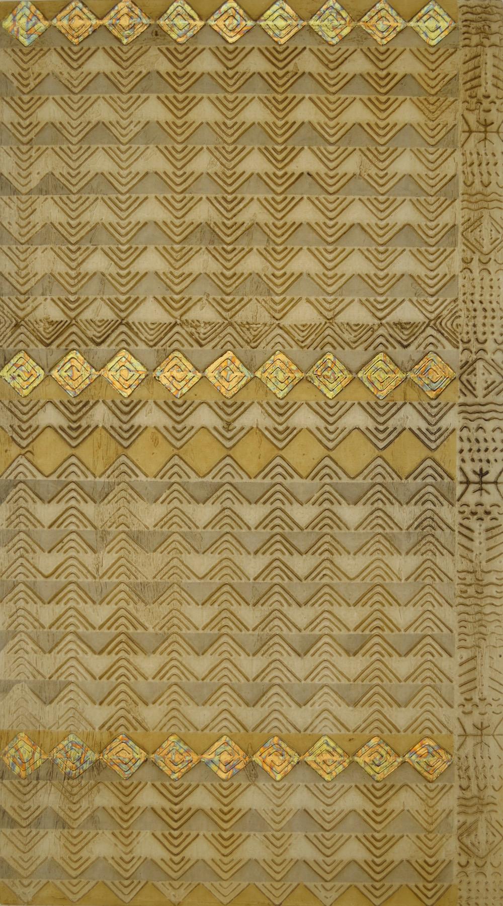 """Tribal Tri # 1 of 2 20"""" x 36"""" x 2"""" Acrylic, oil & gold leaf on archival board"""